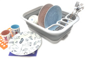SAMMART Collapsible Dish Drainer with Drainer Board - Foldable Drying Rack Set - Portable Dinnerware Organiser - Space Saving Kitchen Storage Tray