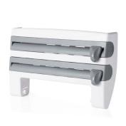 Kitchen Wall Mounted Roll Dispenser,Enjoydeal Kitchen Storage Rack Cling Film Tin Foil Cutter Oil Absorbing Paper Roll Grey