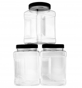 1420ml Square Plastic Jars (3-Pack); Clear Rectangular 6-Cup Canisters w/ Black Lids, Easy-Grip Side