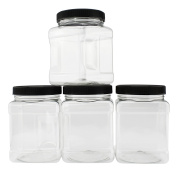 950ml Square Plastic Jars (4-Pack); Clear Rectangular 4-Cup Canisters w/ Black Lids, Easy-Grip Side