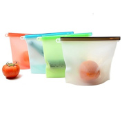 Silicone Food Bag, BAMONA 4pcs Reusable Silicone Food Preservation Bag Airtight Seal Food Storage Containers For Freeze, Steam, Microwave Heat