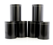 Double Seal Tea Canisters (6-Pack); Black Metal Round Tea Tins w/ Interior Rubber Seal