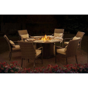 Sunjoy 110201001 Simone Dining Set Made of Aluminium and Wicker with Included LP Firepit, 150cm x 150cm x 70cm