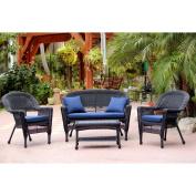 Jeco 4pc Black Wicker Conversation Set - Blue Cushions