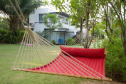 Hammock Outdoor Quilted Cotton Fabric Beach Rope Hammocks Swing Bed Back Yard with Pillow New Red