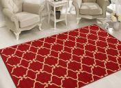 Sweet Home Stores Clifton Collection Moroccan Trellis Design Felt Area Rug, 150cm L, Red