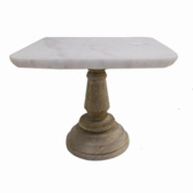 Square Shaped Marble Cake Plate With Wooden Stand, White And Brown