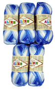 5 x 100 Grammes bambou-cotton blue/white raindrop with Colour Change 1833 . 500 grammes 100% Bamboo Knitting Yarn