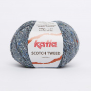 Katia Scotch Tweed Aran colour 67 Jeans 60% Wool 20% Viscose 20% Polyamide 50g ball, 95 metres on using 4.5 - 5mm Needles or 5mm crochet hook
