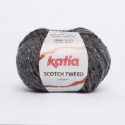 Katia Scotch Tweed Aran colour 65 Dark Grey 60% Wool 20% Viscose 20% Polyamide 50g ball, 95 metres on using 4.5 - 5mm Needles or 5mm crochet hook