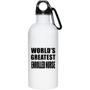World's Greatest Enrolled Nurse - Water Bottle, Stainless Steel Tumbler, Best Gift for Birthday, Wedding Anniversary, New Year, Valentine's Day, Easter, Mother's / Father's Day