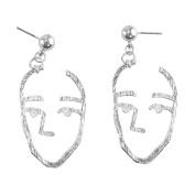 AllRight Novelty Women Art Abstract Dangle Drop Face Earring Hollow Jewellery