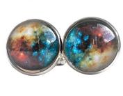 Star Nebula space cufflinks in white metal