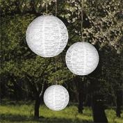 Tableclothsfactory Luxurious Floral Lace Lanterns Centrepiece - White- 6 PCS