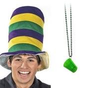 Mardi Gras Felt Stovepipe Hat + Shot Glass Bead Necklace