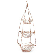 Copper Coloured Tiered Metal Basket 'Tiered Hanging Wire Basket'