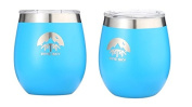Insulated Stainless Steel Wine Glass With Shatterproof Lid by Pine Sky - Vacuum Insulated, Double Walled 240ml Half Pint Tumbler - Set of 2, Blue Horizon