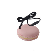 INCHANT Pink Macaron Silicone Teether - 100% Food Grade Teething Toy - Pain Relief Teether Pendant