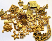 35pc Mixed Charm Pendants Antique Gold Colour Heart Bow Star Fairy Crown etc