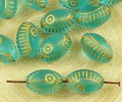 8pcs Crystal Aquamarine Blue Gold Wash Evil Eye Egyptian Revival Mediterranean Talisman Marine Fish Oval Czech Glass Beads 13mm x 9mm