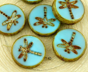 4pcs Picasso Special Silk Turquoise Blue Matte Gold Patina Wash Window Dragonfly Flat Coin Table Cut Round Czech Glass Beads 17mm