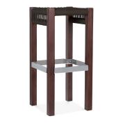 Cult Design Mayfair Wooden Bar Stool, Black Weave Seat, Dark Brown 65cm