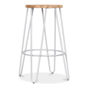 Hairpin Stool with Wood Seat Option - Light Grey 66cm