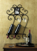 SKB Family Black Iron Wall Mounted Wine Rack Bottle Holder and Four Wine Glasses Metal Kitchen Bar Decor Shelf With Photo Frame