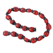 YC 20Pcs Ladybug Lampwork Glass Spacer Beads Red 15x10mm
