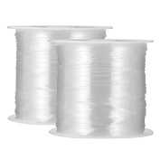 2 Packs 0.4 mm Clear Nylon Wire Non-stretchy Beading Threads for Beading Jewellery Bracelets and Crafts, 45 Metres Each