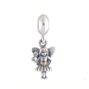Silver SET OF 2 Fairy Angel Pendant Dangle Hearts Charms, will fit Pandora, Biagi, Chamilia and Troll Bracelets BMP