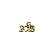 JulieWang 100pcs Year 2018 Antiqued Gold Charms for Jewellery Making Crafting 13x9mm