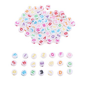 Demiawaking 300Pcs 6mm Round Acrylic Beads Mixed Colour with Engraved Alphabet Letters for Kids DIY Crafts Jewellery Making