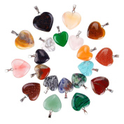 Juanya 20 Pieces Heart Shaped Stone Pendants Charms Crystal Chakra Beads for DIY Necklace Jewellery Making, 2 Sizes, Assorted Colour