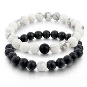 AllRight Black Matte Agate & White Howlite Beads Chain 8mm Beads Bracelet Beads Bracelet Beads Bracelet black & white