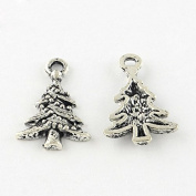 10 x DECORATED CHRISTMAS TREE Tibetan Silver Charms Pendants Beads