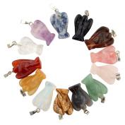 15pcs Guardian Angel Handmade Carved Gemstone Pendants Chakra Beads DIY Crystal Quartz Stone Random Colour Pendants for Necklace Jewellery Making