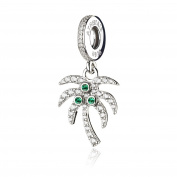 ATHENAIE 925 Sterling Silver Sparkling Palm Tree with Pave Clear CZ Pendant Drops Charms