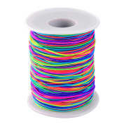 Elastic Cord Rainbow Colour Beading Cord Thread Stretch Fabric Crafting String, 1 mm, 100 m