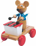 Woodyland 21 x 19 cm Didactic Toys Pull Along Mouse with Xylophone