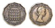 Collectible coins - 1959 Circulated British Threepenny Bit / UK GB