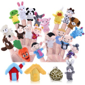 Biging 24 Pieces Finger Puppets Set Cloth Plush Doll Baby Educational Hand Cartoon Animal Toys with 15 Animals, 6 People Family Members, 2 Pieces House and 1 Piece Carrot