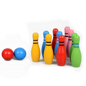 Povkeever Wooden Bowling Set Kids Skittles Toys for Toddlers with 10 Pins 2 Balls