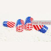 Nail Tips 24 Pcs/Set America Flag Design False Fake Nails Acrylic Nail Art With Glue Beauty Fashion