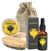 Beard Care Kit,LuckyFine Moustache Care Gift Set Beard Comb Beard Brush Balm Oil Grooming Set for Men 4 Pcs