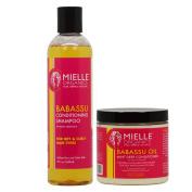 Mielle Organics Haircare Set (Babassu Conditioning Shampoo 240ml Babassu Oil and Mint Deep Conditioner 240ml by Mielle Organics