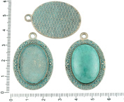 2pcs Czech Turquoise Blue Patina Antique Silver Tone Large Oval Pendant Bezel Cabochon Setting Blank Tray Metal Base Fit Cameo 18mm x 25mm