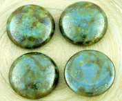 2pcs Picasso Turquoise Blue Terracotta Brown Senegal Round Domed Flatback Czech Glass Cabochons 20mm