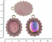 2pcs Czech Valentine Pink Patina Antique Silver Tone Oval Pendant Bezel Cabochon Settings Blank Tray Metal Base Fit Cameo 13mm x 18mm