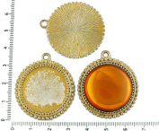 2pcs Czech Matte Gold Patina Antique Silver Tone Large Round Pendant Cabochon Settings Dots Bezel Blank Tray Metal Base Fit Cameo 25mm